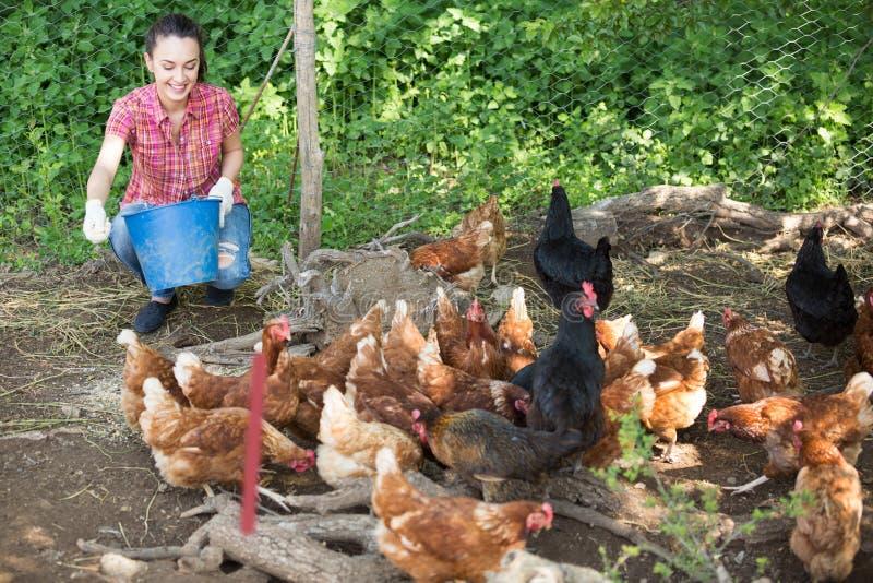 Vrolijke vrouwenlandbouwer die het voeden materiaal geven stock fotografie