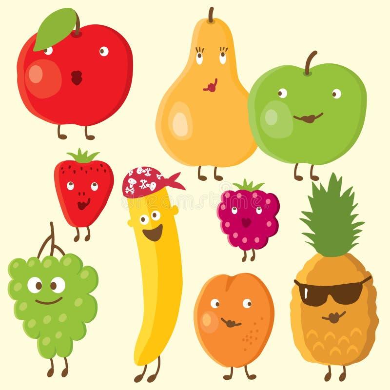 Vrolijke vruchten en bes royalty-vrije illustratie