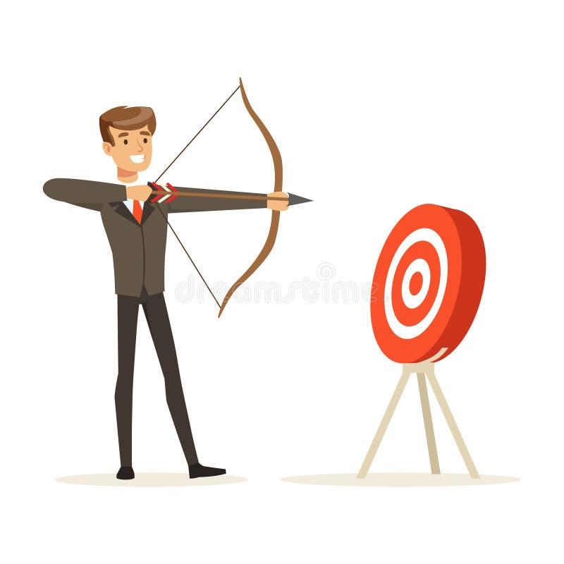 Vrolijke zakenman die doel met boog en pijl vectorillustratie streven vector illustratie