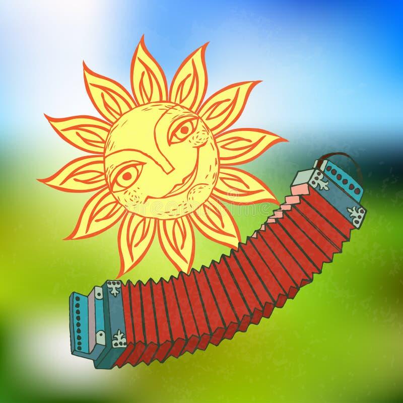 Vrolijke zon en Russische harmonika voor het ontwerp van de zomervakantie, picknicks, kinderen` s partijen De grote weer? mijlen  royalty-vrije illustratie