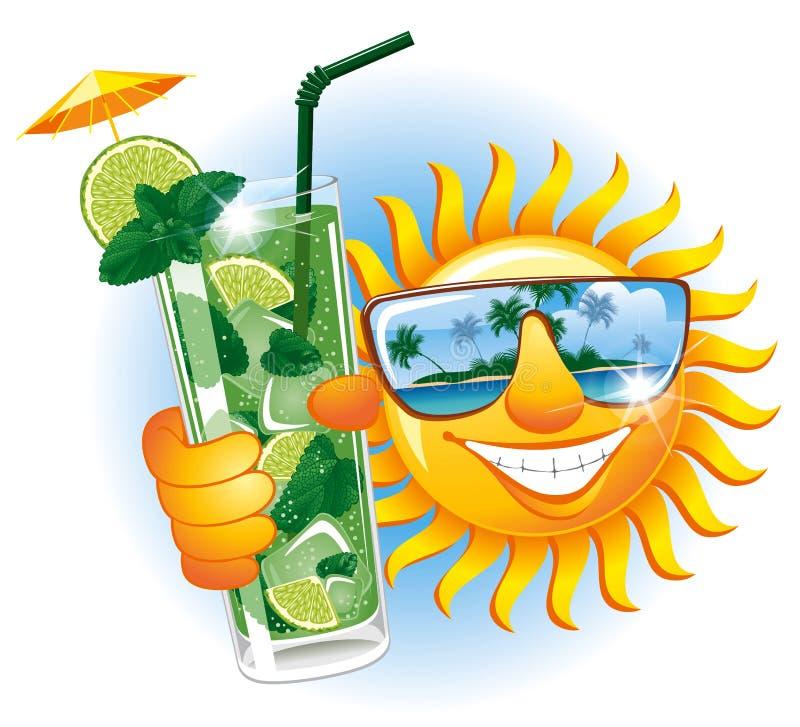 Vrolijke zon met cocktail stock illustratie