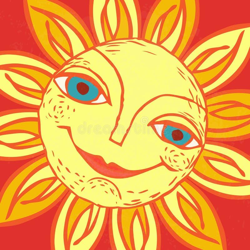 Vrolijke zon voor het ontwerp van de zomervakantie, picknicks, kinderen` s partijen De grote weer? mijlen stranden? het roeien va royalty-vrije illustratie