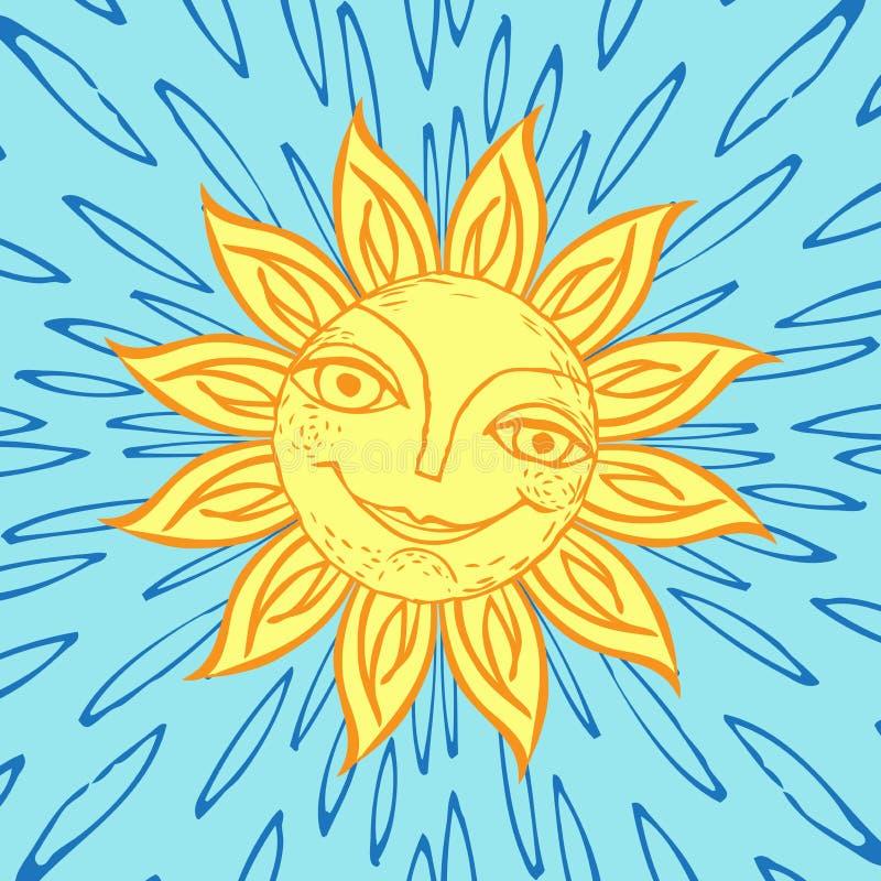 Vrolijke zon voor het ontwerp van de zomervakantie, picknicks, kinderen` s partijen De grote weer? mijlen stranden? het roeien va vector illustratie