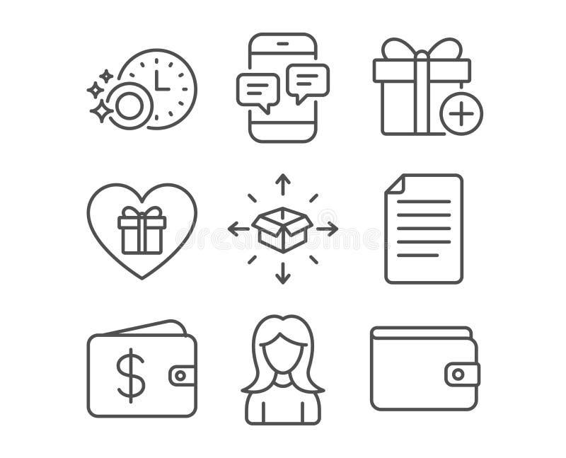 Vrouw, Afwasmachinetijdopnemer en de pictogrammen van de Pakketlevering Telefoonberichten, Dossier en Dollarportefeuilletekens royalty-vrije illustratie