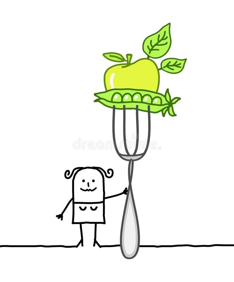 Vrouw & vegetarisch voedsel stock illustratie