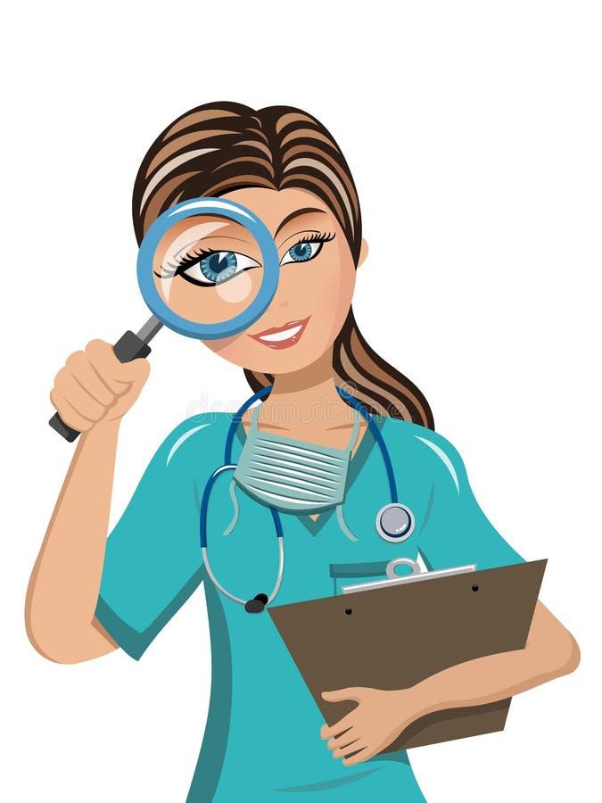 Vrouw arts die door het overdrijven van geïsoleerde lens kijken vector illustratie