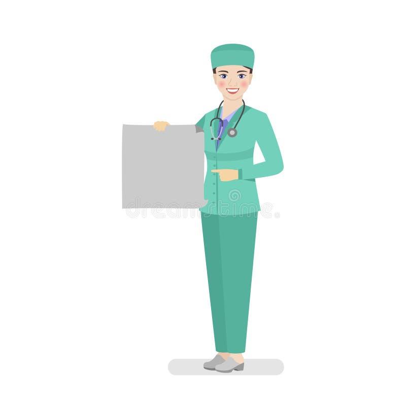 Vrouw arts die in groene werkkledij een affiche houden die aanbevelingen geven vector illustratie