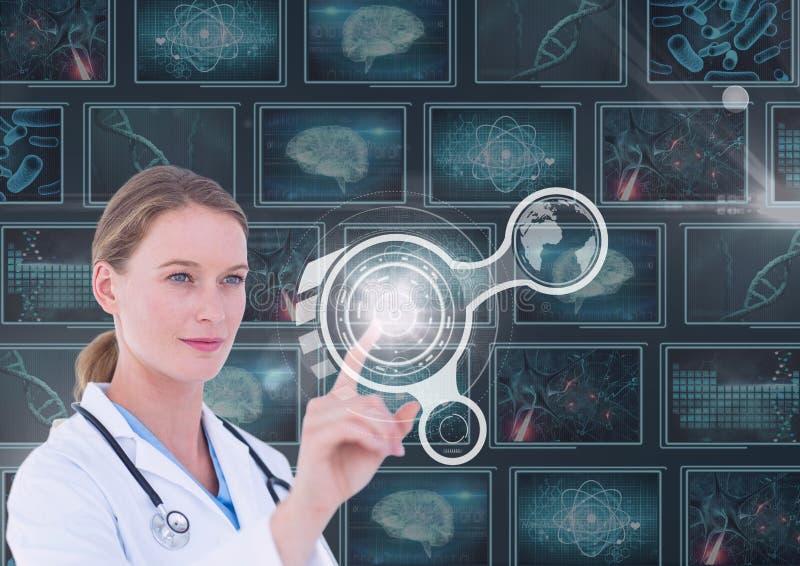 Vrouw arts die met interfaces tegen achtergrond met medische interfaces interactie aangaan royalty-vrije stock foto's