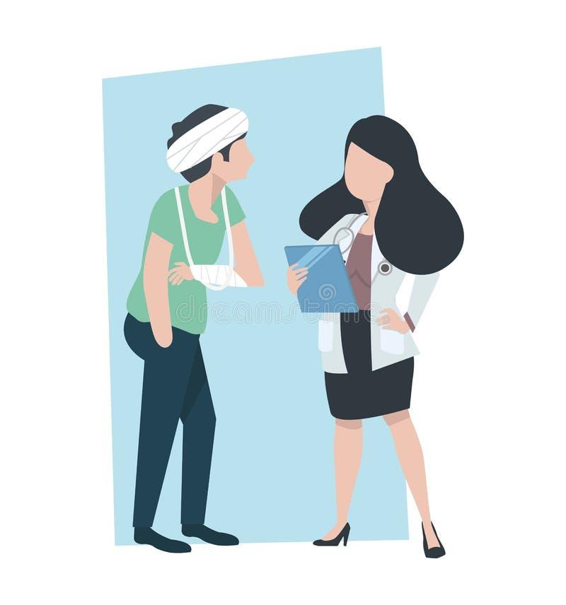 Vrouw Arts die patiënt behandelen stock illustratie