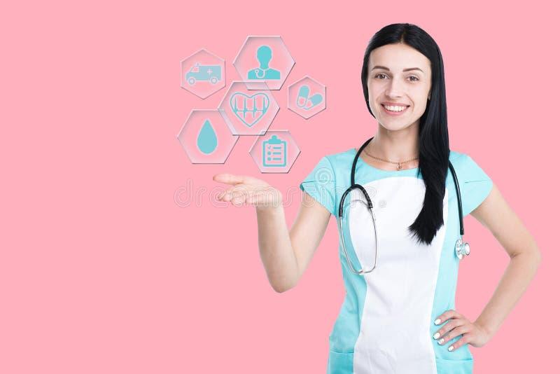 Vrouw arts op achtergrond wordt geïsoleerd die royalty-vrije stock foto