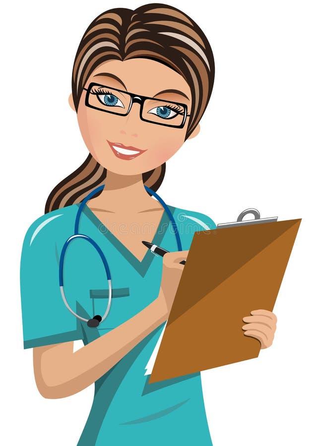 Vrouw Artsenchirurg Writing Folder vector illustratie