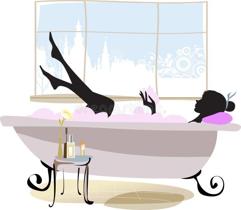 Vrouw in badkuip. vector illustratie