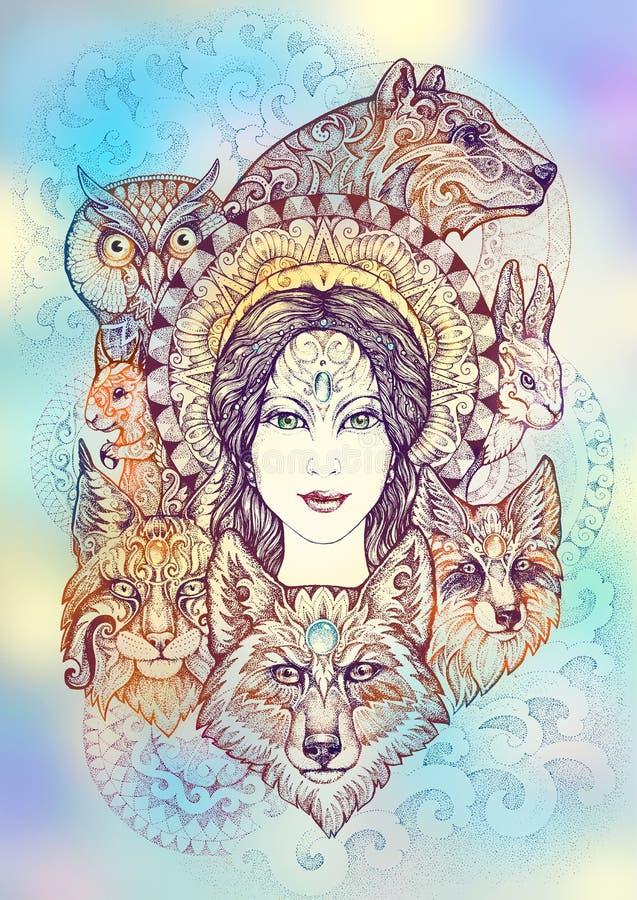 Vrouw, beer, wolf, lynx, hazen, eekhoorn en een uil royalty-vrije illustratie