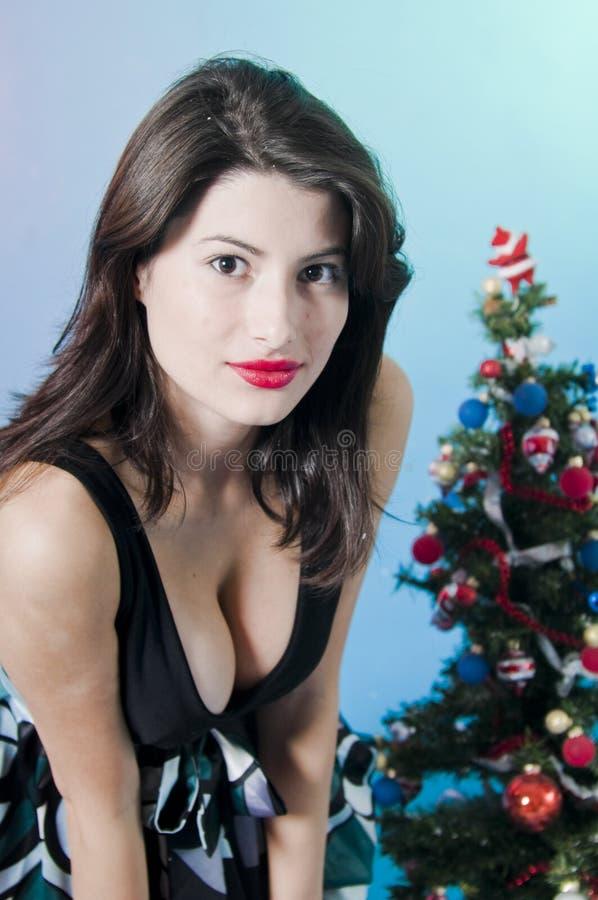 Vrouw bij de partij van Kerstmis   stock foto