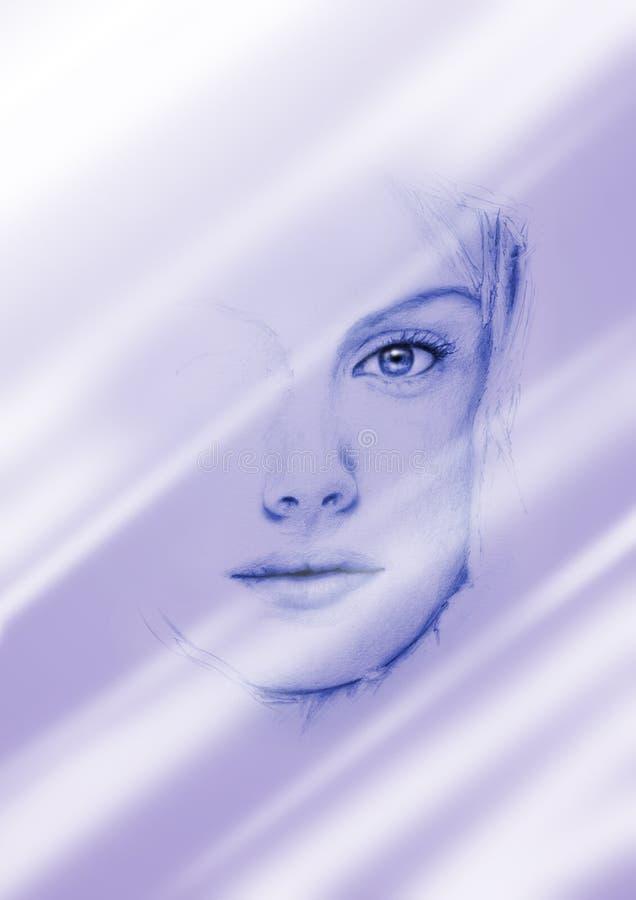 Vrouw bij de spiegel stock illustratie
