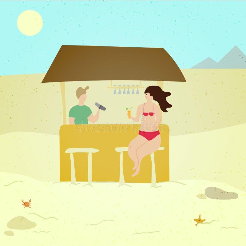 Vrouw bij de strandbar - het karakter van beeldverhaalmensen isoleerde illustratie op witte achtergrond Meisjeszitting bij de tel royalty-vrije illustratie