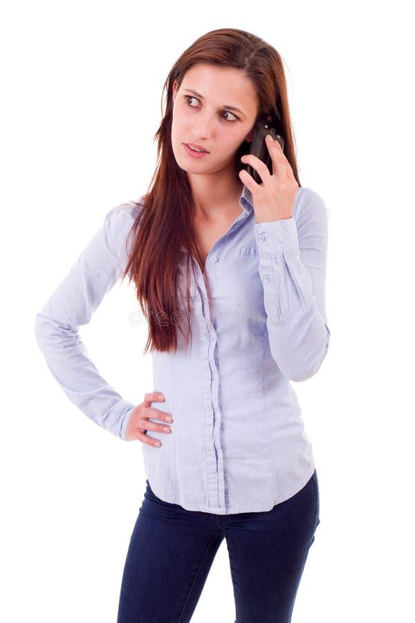 Vrouw bij de telefoon royalty-vrije stock foto's