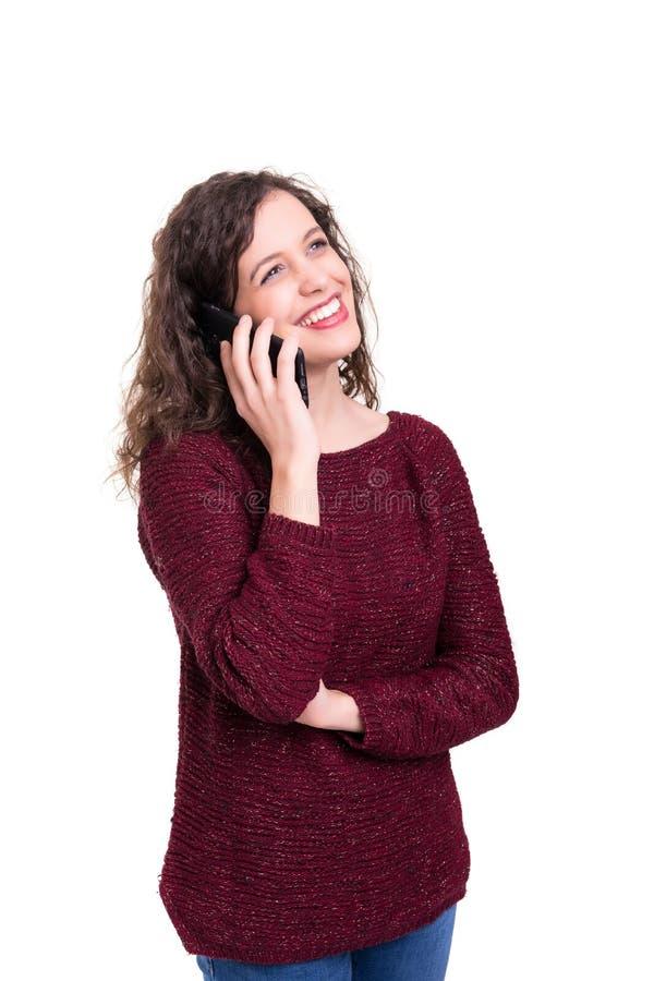Vrouw bij de telefoon royalty-vrije stock foto