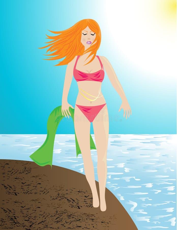 Download Vrouw bij het strand stock illustratie. Illustratie bestaande uit schoonheid - 10781642
