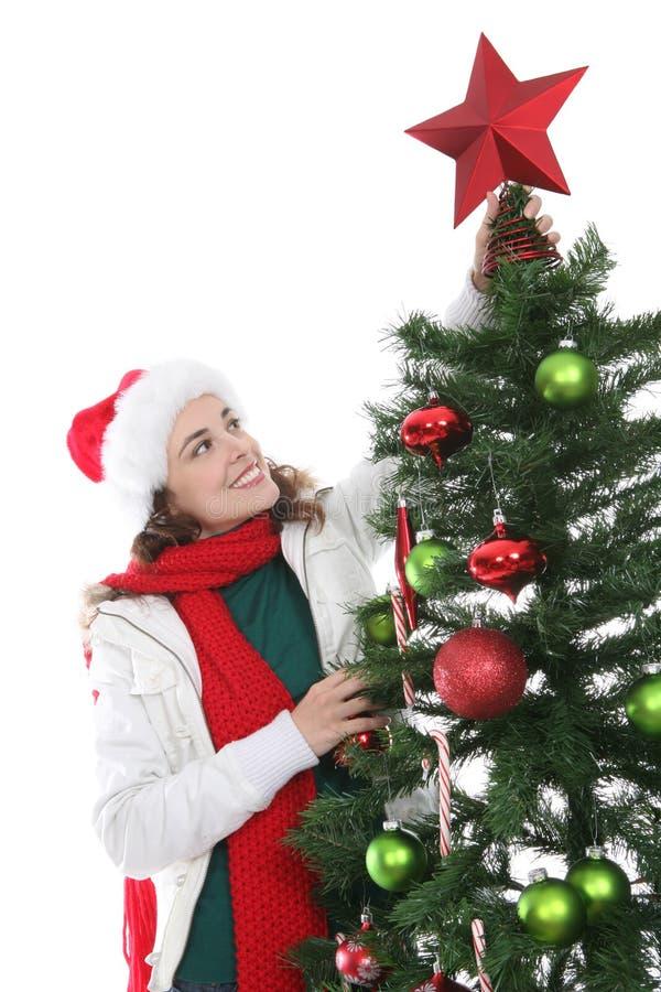 Vrouw bij Kerstmis royalty-vrije stock foto
