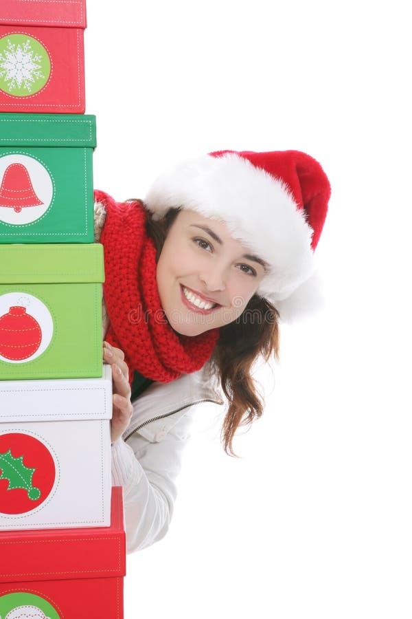 Vrouw bij Kerstmis stock afbeelding