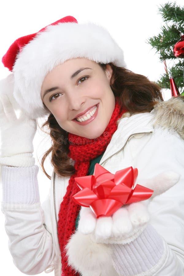 Vrouw bij Kerstmis royalty-vrije stock fotografie