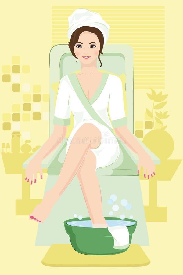 Vrouw bij kuuroord vector illustratie