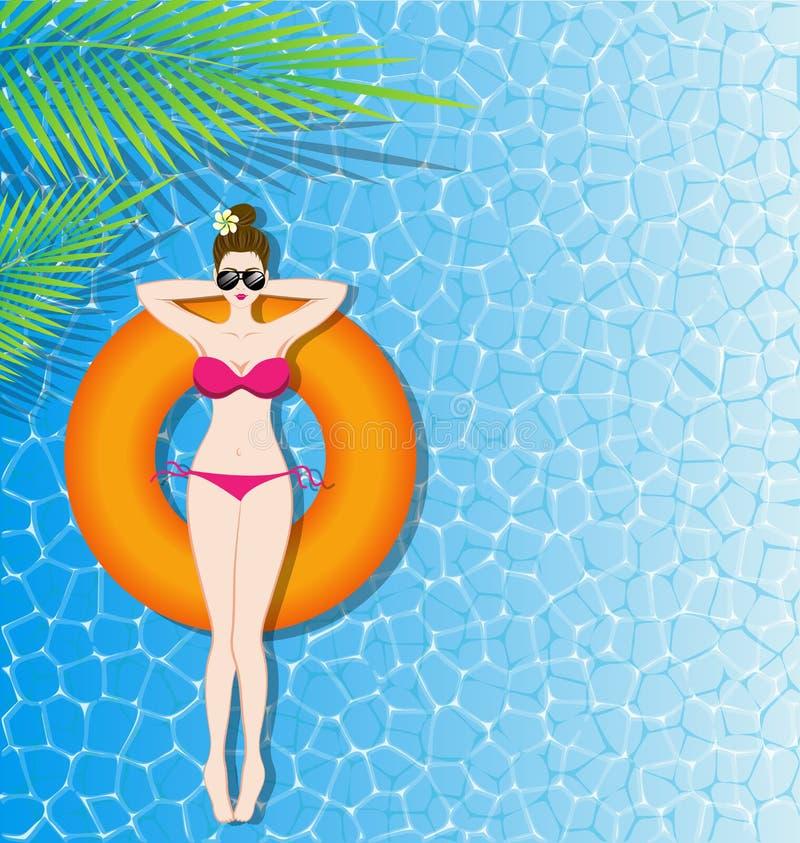 Vrouw in bikini het ontspannen op opblaasbare matras in het overzees stock illustratie