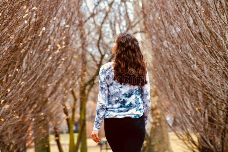 Vrouw in Blauw en Witte, langsleevige hemel die langs de bladloze boom loopt stock foto's