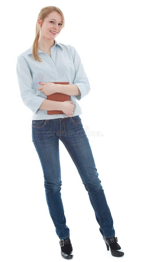 Vrouw in blauw overhemd met boek royalty-vrije stock foto's