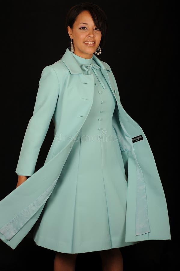 Vrouw in blauwe kleding royalty-vrije stock foto