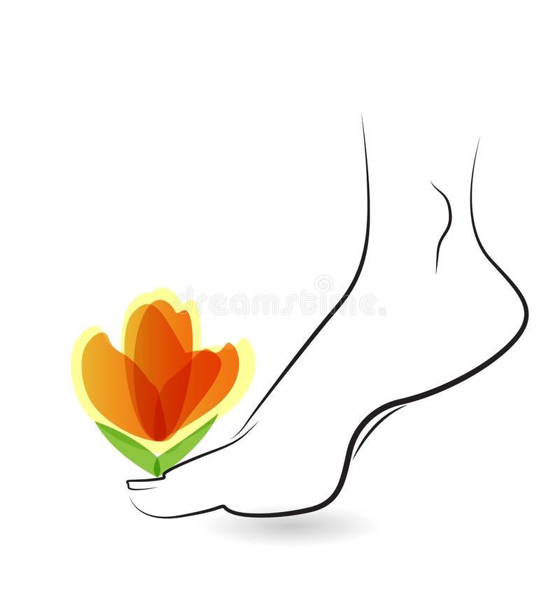 Vrouw blootvoets met bloemembleem vector illustratie