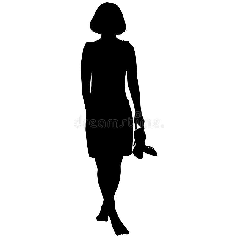 Vrouw blootvoets met schoenen in haar hand stock illustratie