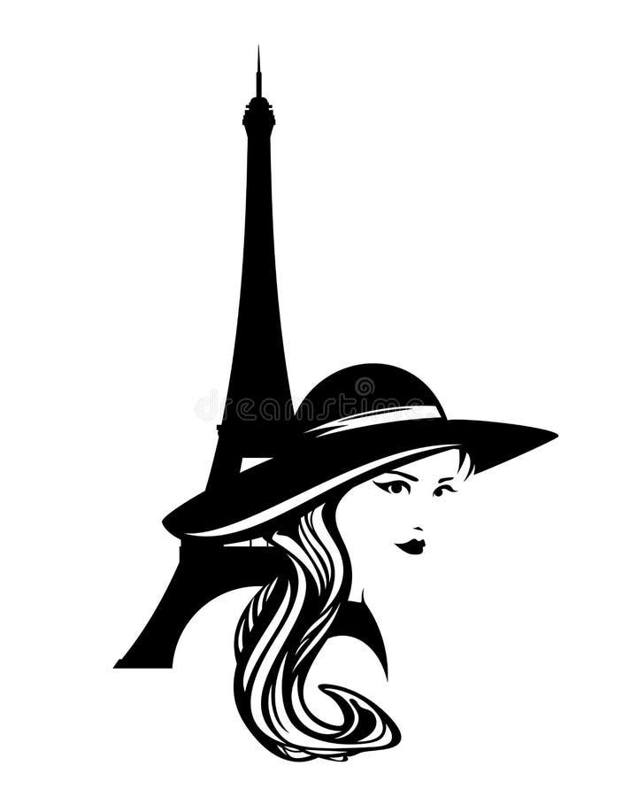 Vrouw in brede hoed met ontwerp van het de toren het vectoroverzicht van Eiffel stock illustratie