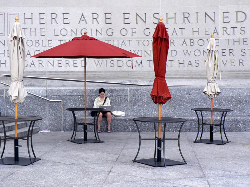 Vrouw buiten de Openbare Bibliotheek van Brooklyn royalty-vrije stock afbeeldingen