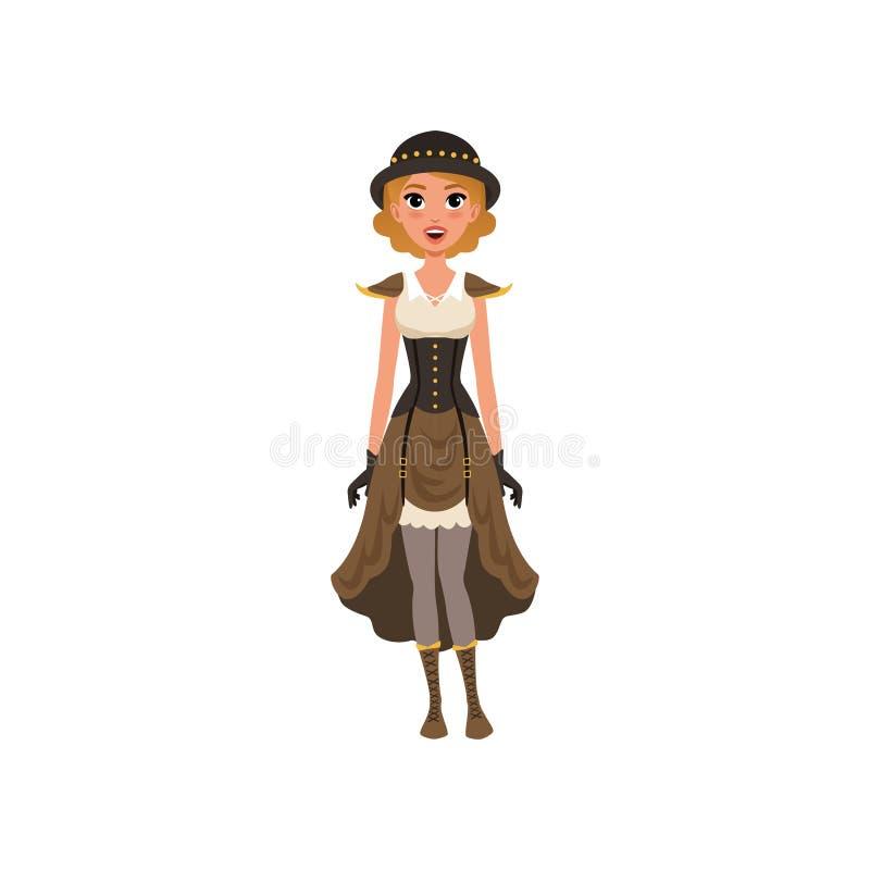 Vrouw in buitensporige steampunkkleding Het jonge meisje chemise kleding, korset, handschoenen, binnen bowlingspelerhoed en laarz stock illustratie