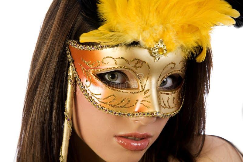 Vrouw in Carnaval masker stock afbeelding