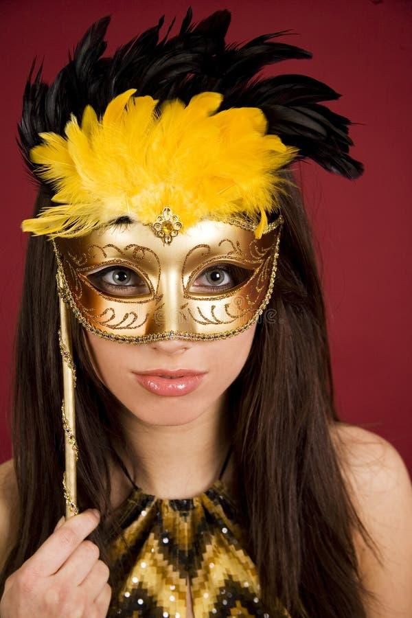Vrouw in Carnaval masker stock afbeeldingen