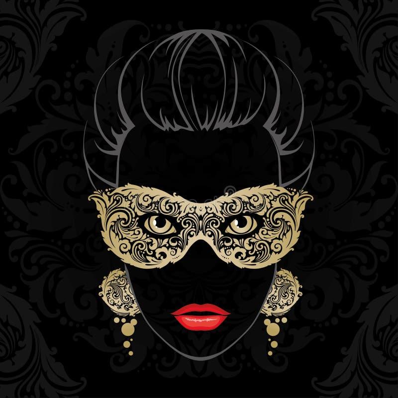 Vrouw in Carnaval-masker royalty-vrije illustratie