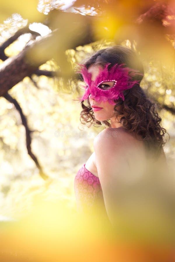 Vrouw in Carnaval masker. De herfst royalty-vrije stock foto's