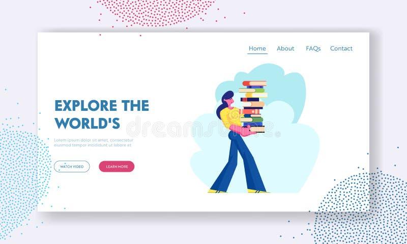 Vrouw Carry Big Heap van Boek aan Boekenrek in Publiek of van de Huisbibliotheek Student in Athenaeum of Archief, Literatuuropsla vector illustratie