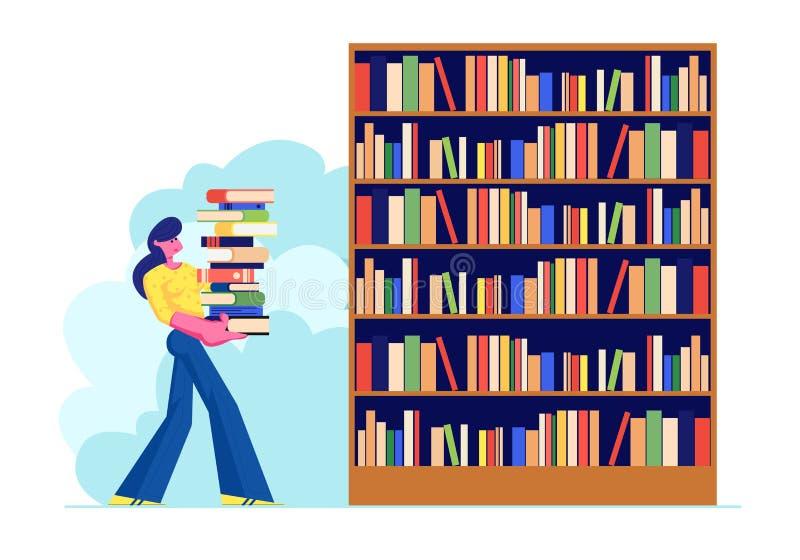 Vrouw Carry Big Heap van Boek aan Boekenrek in Publiek of van de Huisbibliotheek Student Spend Time in Athenaeum of Archiefzaal m stock illustratie