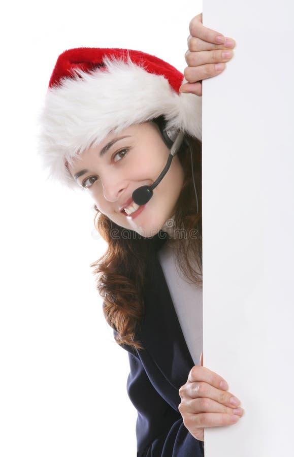 Vrouw de bedrijfs van Kerstmis stock afbeelding