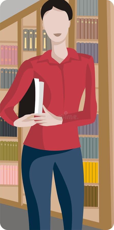 Vrouw in de Illustratie van de Bibliotheek stock illustratie