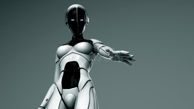 Vrouw - de robot houdt haar hand aan u stand stock illustratie