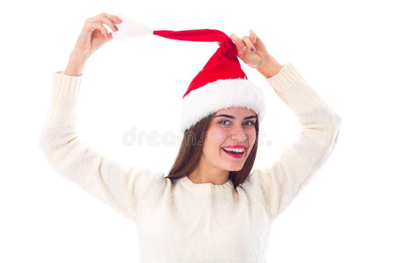 Vrouw in de rode hoed van Kerstmis royalty-vrije stock afbeeldingen