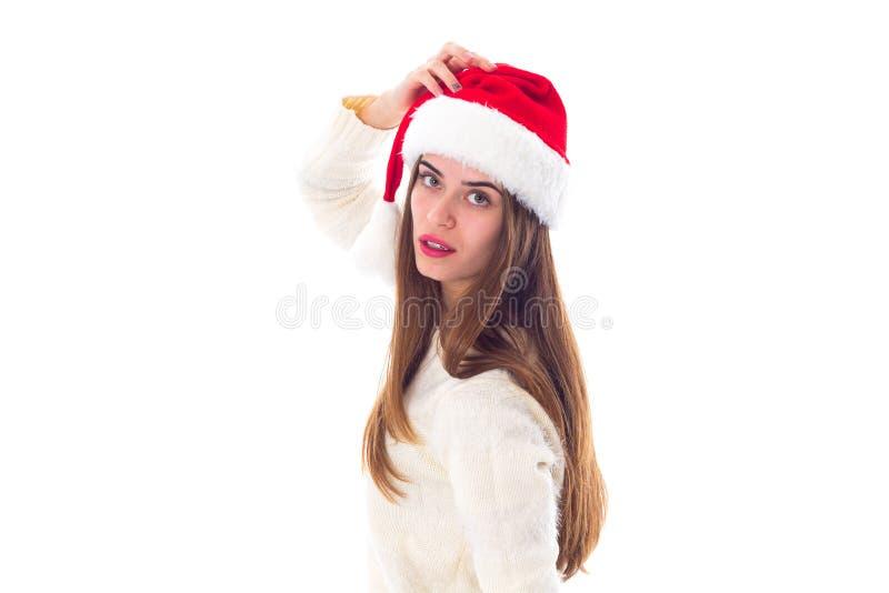 Vrouw in de rode hoed van Kerstmis royalty-vrije stock foto