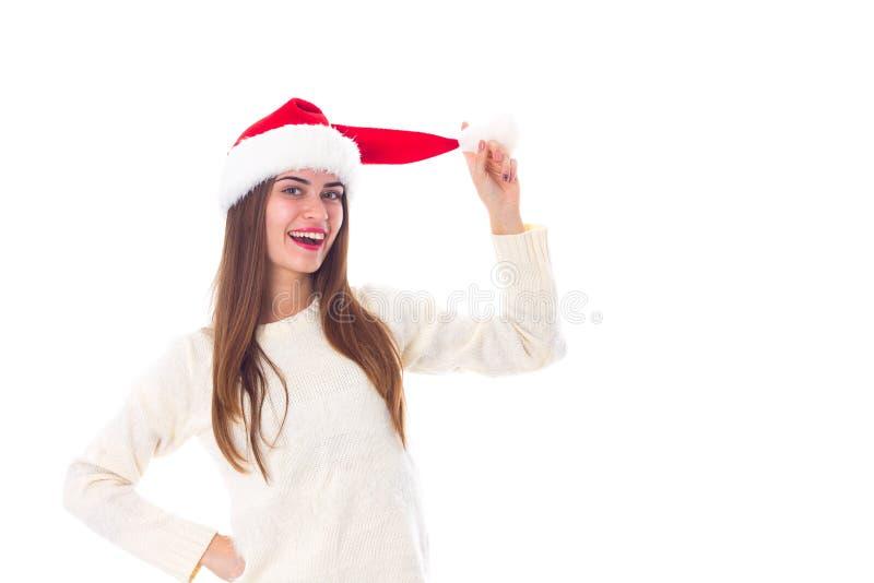 Vrouw in de rode hoed van Kerstmis stock afbeelding