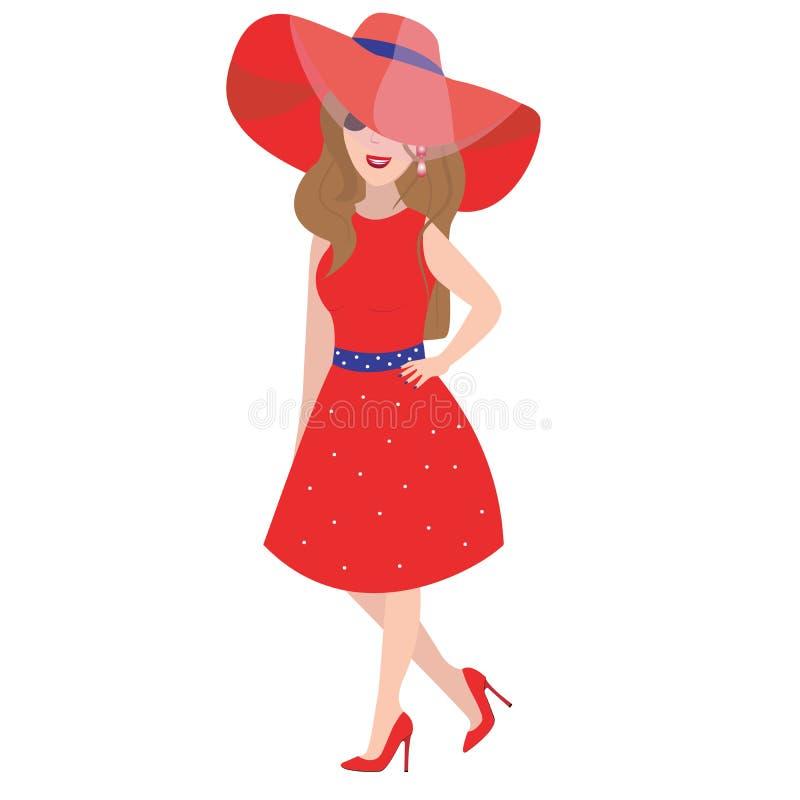 Vrouw in de rode kleding Vector illustratie stock illustratie