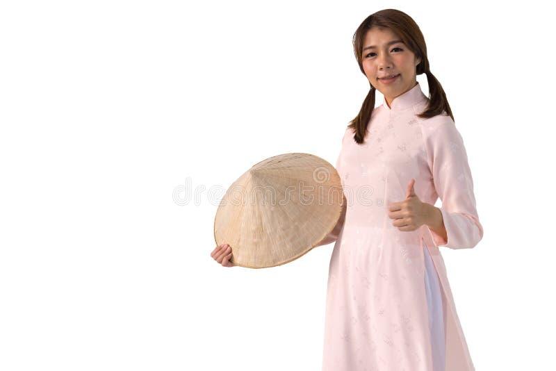 vrouw in de roze Traditionele kleding van Vietnam van Kledingscultuur royalty-vrije stock afbeeldingen
